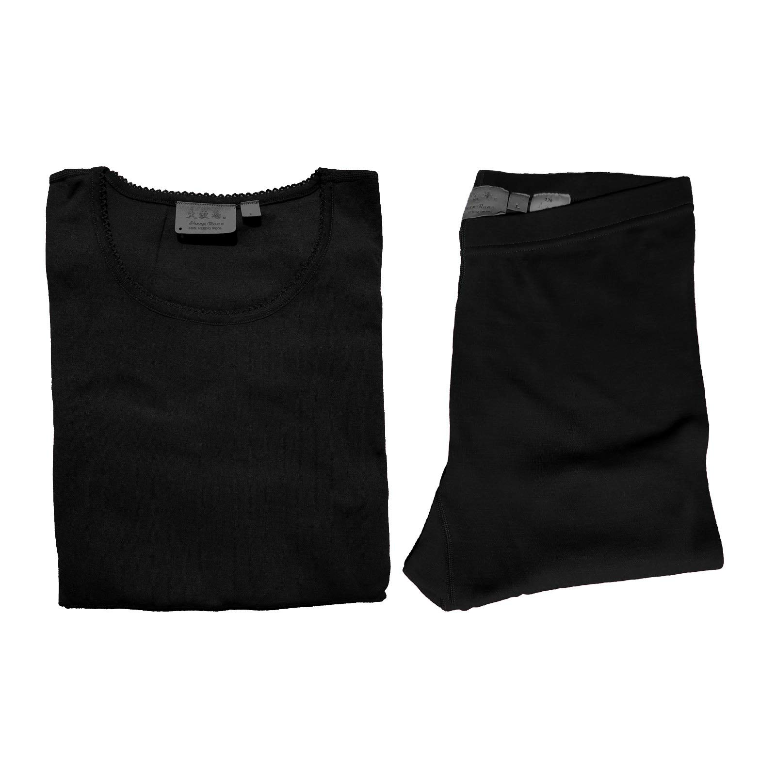 Sheep Run Womens 100% Merino Wool Thermal Underwear Top and Pants (Black, Large) by Sheep Run