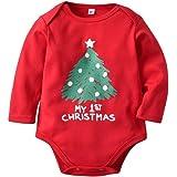 Miyanuby Pagliaccetti Neonata Bambino Bambina Ragazzi Vestiti di Natale Cotton Red Pagliaccetto Body Tutine One Piece Outfits 0-18 Mesi