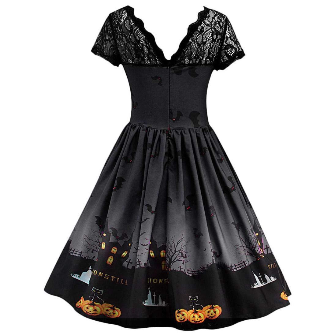 DEELIN Moda De La Mujer Caliente Venta De Halloween Encaje De Manga Corta Vestido Vintage Vestido De Fiesta De Halloween Falda Hepburn(S-3XL): Amazon.es: ...