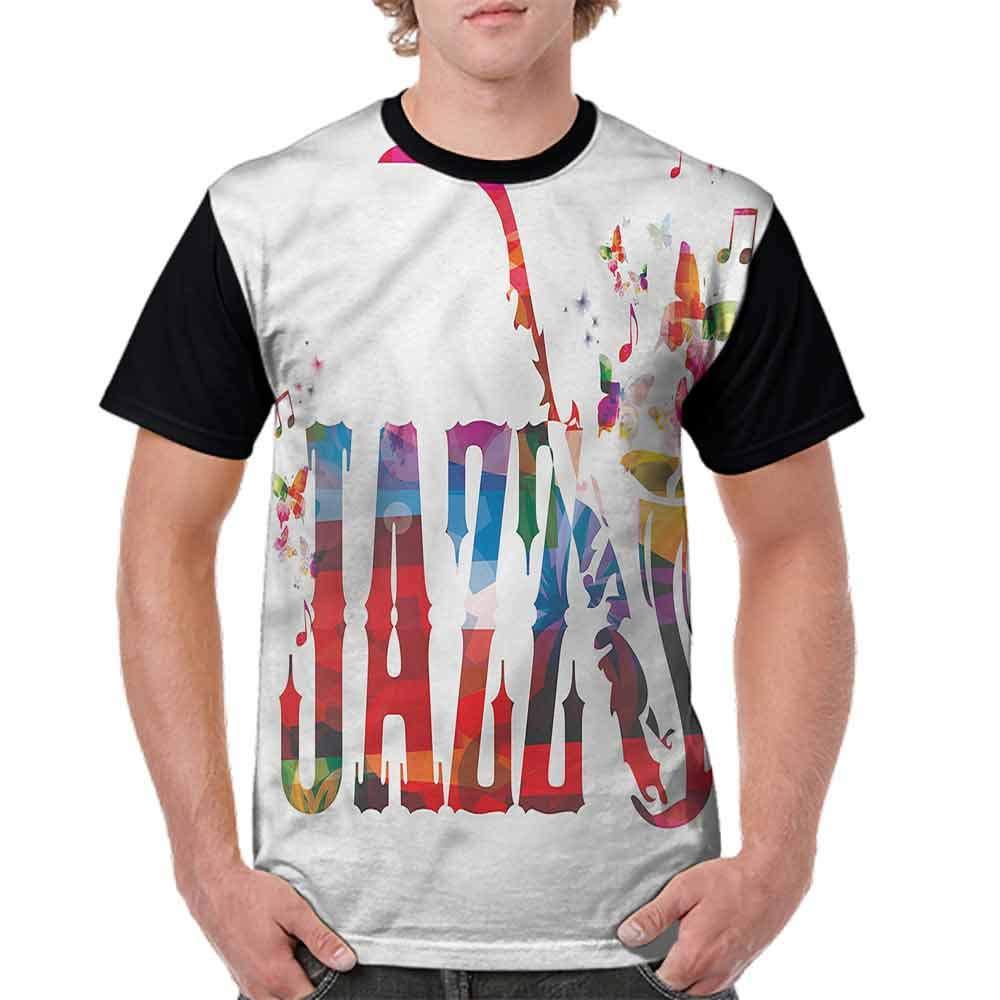 BlountDecor Printed T-Shirt,Jazz Theme with Saxophone Fashion Personality Customization