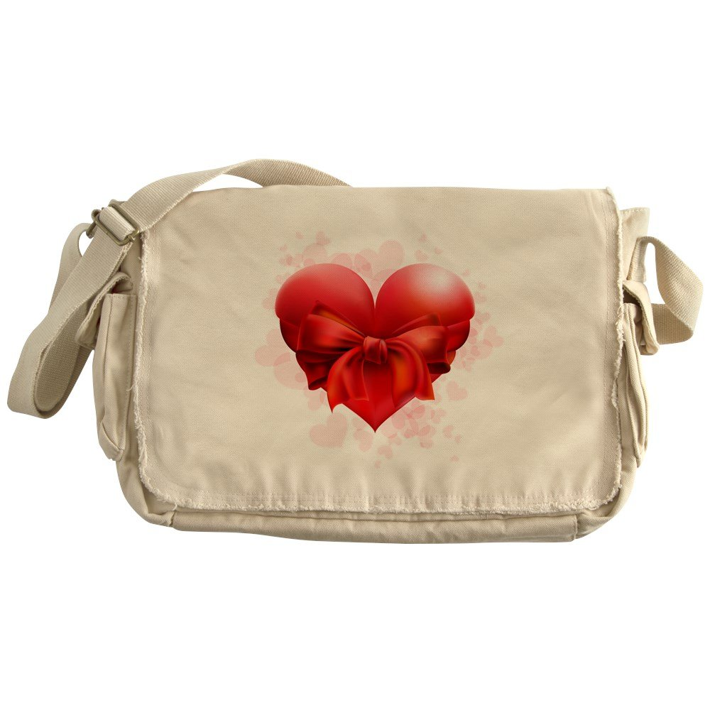 Truly Teague Khaki Messenger Bag Heart with Red Bow