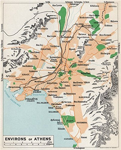 Amazon Com Athens Environs Vintage Map Plan Piraeus Greece 1967