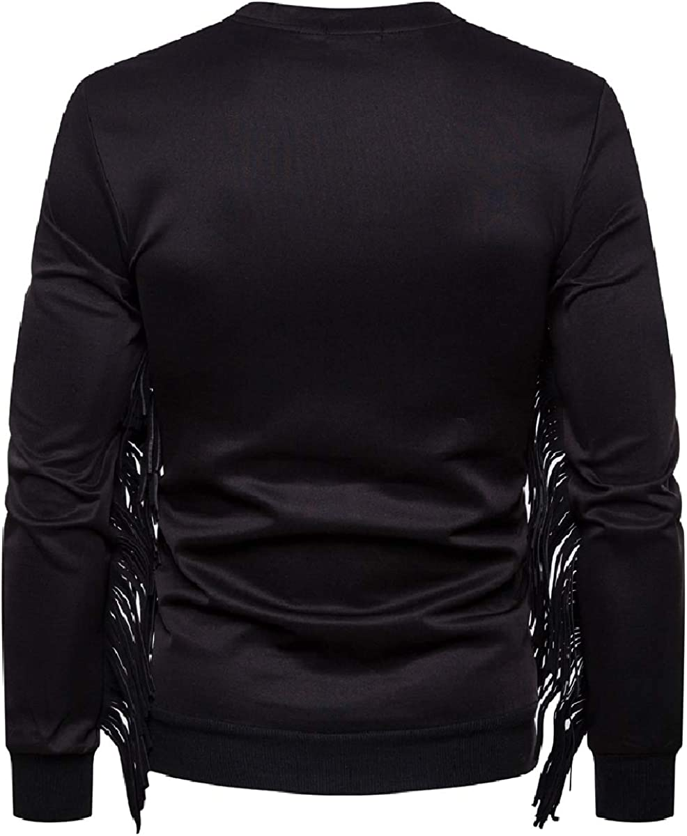YUNY Men Long-Sleeve Pullover Round Neck Relaxed Fringe Sweatshirts Black S