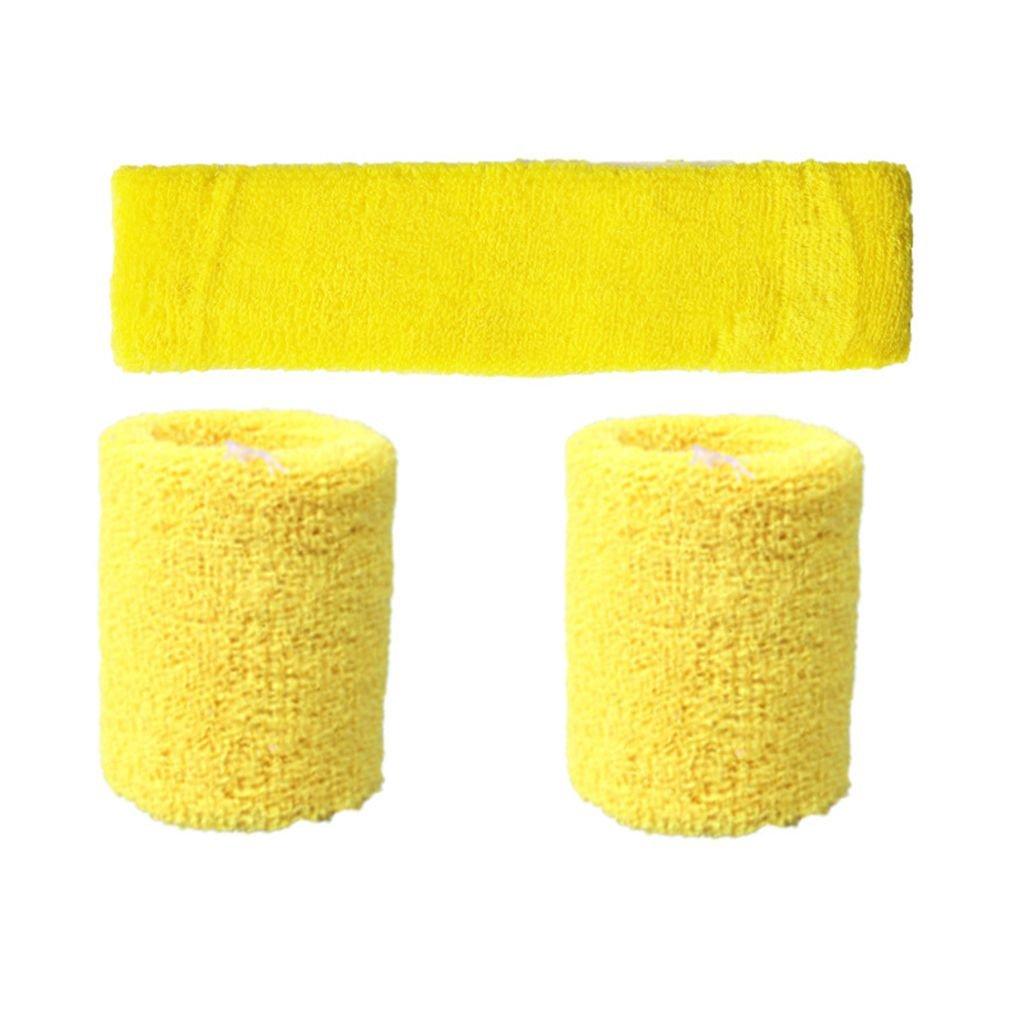 Gankmachine Unisex Polyester Elastic Armband Stirnband Set Solid Color Breathable Sport-Basketball-Schwei/ßband Blau