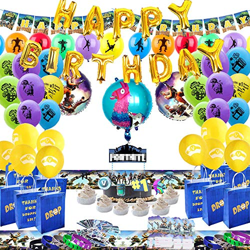 Birthday Party Supplies for Game Fans, 162 pcs Video Game Party Supplies - Table Cover - Drop Bags - Invitations - Cake Decorations for Game Party Decoration.