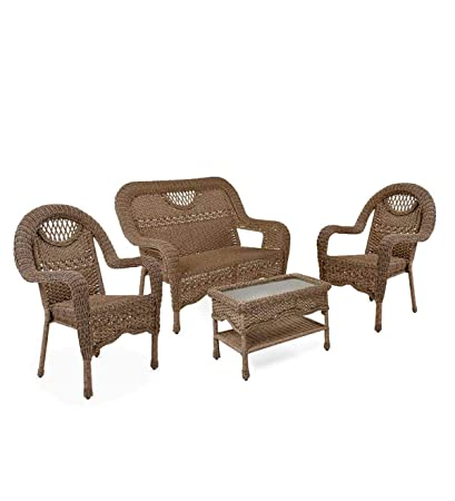 Enjoyable Amazon Com Prospect Hill Wicker Set Of Settee Two Chairs Gmtry Best Dining Table And Chair Ideas Images Gmtryco