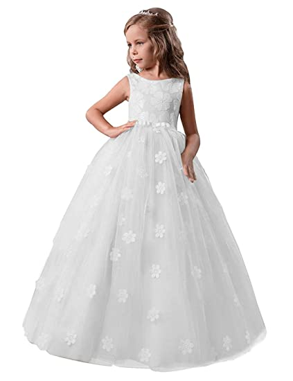 NNJXD Ni/ñas Bordado De Encaje Flor De La Boda Fiesta De Cumplea/ños Princesa Vestido de Cola Larga