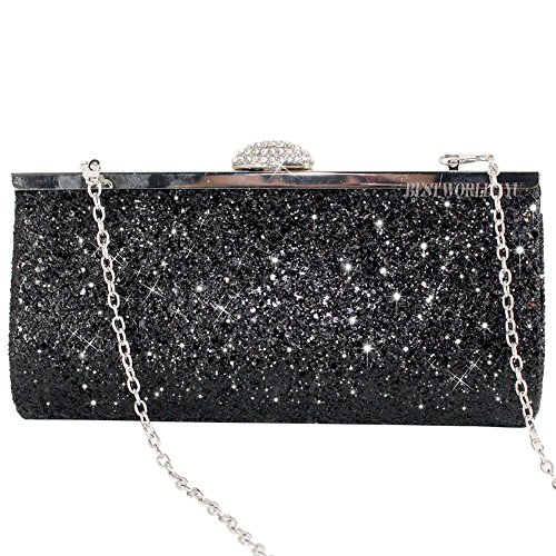 Party 1 Clutch Hard Bag Black Case Silver Wocharm Fashion Prom Shimmering Handbag Style Box Evening Bridal Crystal Purse Diamante Encrusted wUvSOqvC