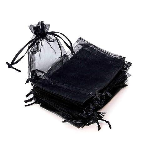 RUBY - 50 Piezas Bolsas de Organza para Fiesta de Boda / 9cm x 12cm / Saquitos/Bolsitas Regalo Joyeria Envio Desde ESPAÑA (Negro)