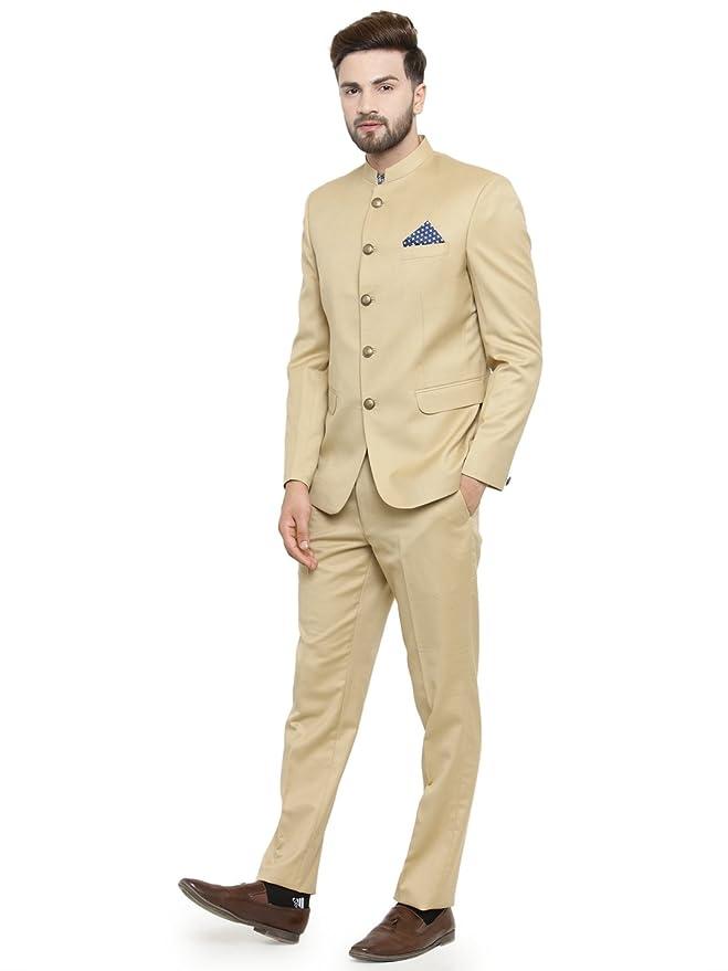 LUXURAZI Ethnic Beige Bandh Gala Designer 2 Piece Suit: Amazon.co.uk: Clothing