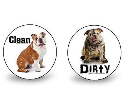 ENGLISH BULLDOG Clean Dirty DISHWASHER MAGNET No 2 DOG