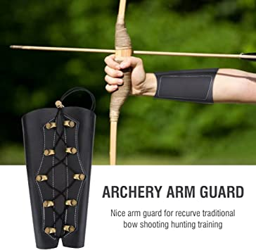 Adjustable Tbest Leather Arm Guards Armguard for Archery Brown//Black Adult Youth Leather Protective Arm Guards Protector Wristband Costume For Recurve Bow Shooting Hunting