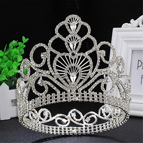 "Price comparison product image Wiipu 4.6"" High Round Royal Sparkly Rhinestones Tiaras Crowns,5.8"" Diameter(A1367) (Silver)"