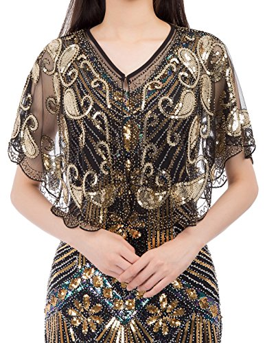 GRACE KARIN Women Shawl 1920s Flapper Cover Ups Sequin Cape Evening Wrap (L,Gold)