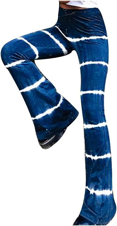 Amazon Com Tie Dye Pantalones Largos Para Mujer Cintura Alta Estilo Bohemio Con Pierna Ancha Y Pantalones Acampanados Clothing