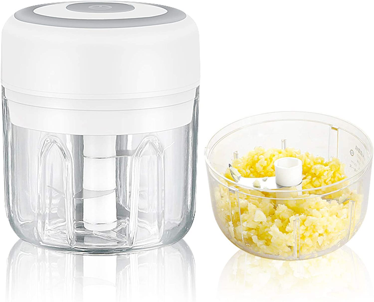 Electric Mini Garlic Chopper,Fits for Cutter Vegetables/Meat Grinder/Garlic Chooper/Fruits Masher/Salad Grinder, Baby Food Maker,Easy Cleaning,White(250ML)