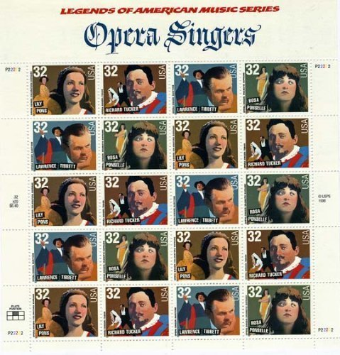 Music Stamp Series - USPS Opera Singers Sheet of Twenty 32 Cent Stamps Scott 3154-57
