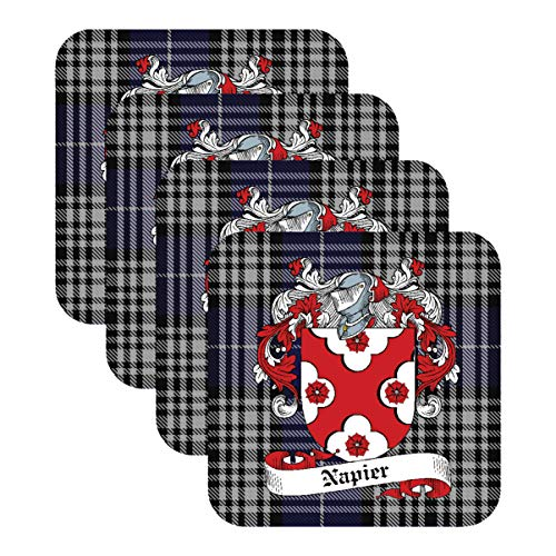 - NAPIER SCOTTISH CLAN COAT OF ARMS - SQUARE DRINKS COASTER ON NAPIER TARTAN BACKGROUND - SET OF FOUR