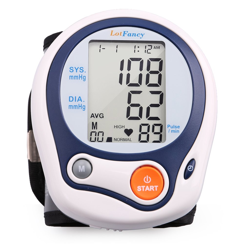 LotFancy Wrist Blood Pressure Cuff Monitor Machine with Portable Case for Home Use, FDA Approved, 60 Memories
