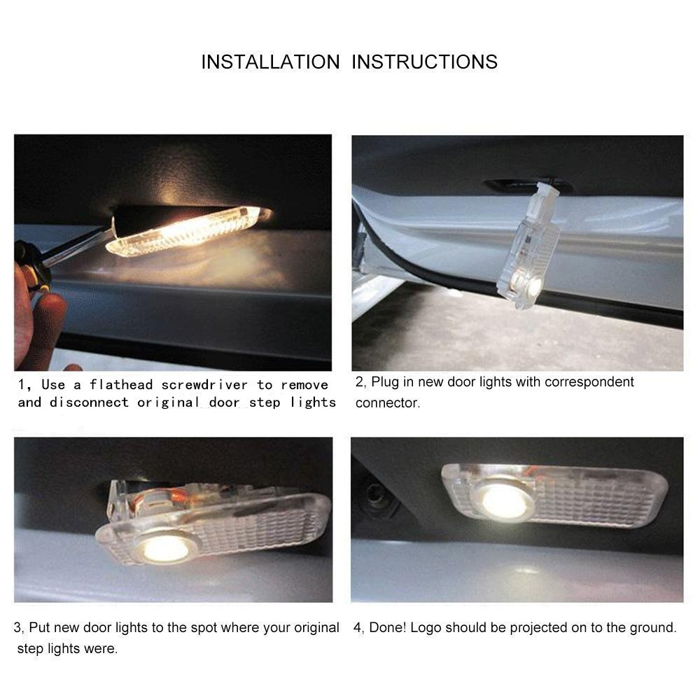 JIAFENG 4 PCS Car Door LED Lighting Welcome Lights Shadow Projector for Mini Cooper