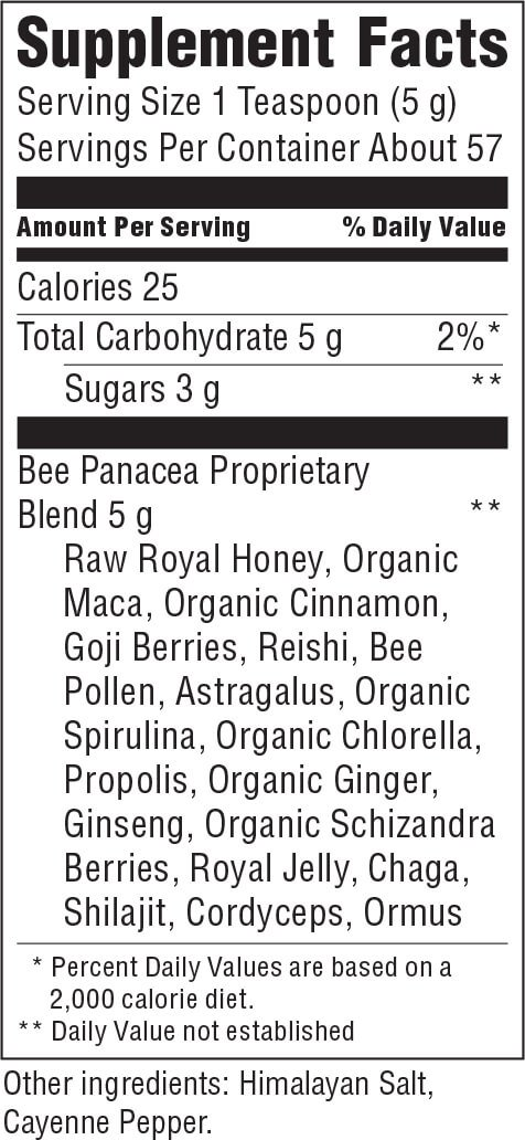 Virgin Raw - Bee Panacea – 10 oz | Royal Honey Infused with 20 of The World's Most Amazing Superfoods & Herbs | New Ingredients, Better Taste | Gluten Free, Soy Free & Dairy Free