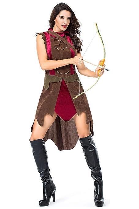beckyring Disfraz de Arquero Adulto Cazador Disfraz Halloween ...
