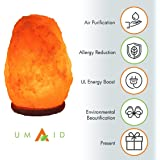 UmAid New Designed Natural Himalayan Hand Carved Crystal Salt Lamp for Home and Office (6 - 8 Inch, 5-7 lbs.) Sturdy Neem Wood Base With UL listed Dimmer Control |