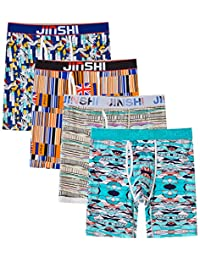 JINSHI Men's Crazy Soft Bamboo Underwear Long Boxer Briefs Graphic with Fly