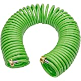 GREEN MOUNT Coil Garden Water Hose Premium PU With Brass Connectors Retractable self Coiling 50 ft Recoil RV Boat Hose
