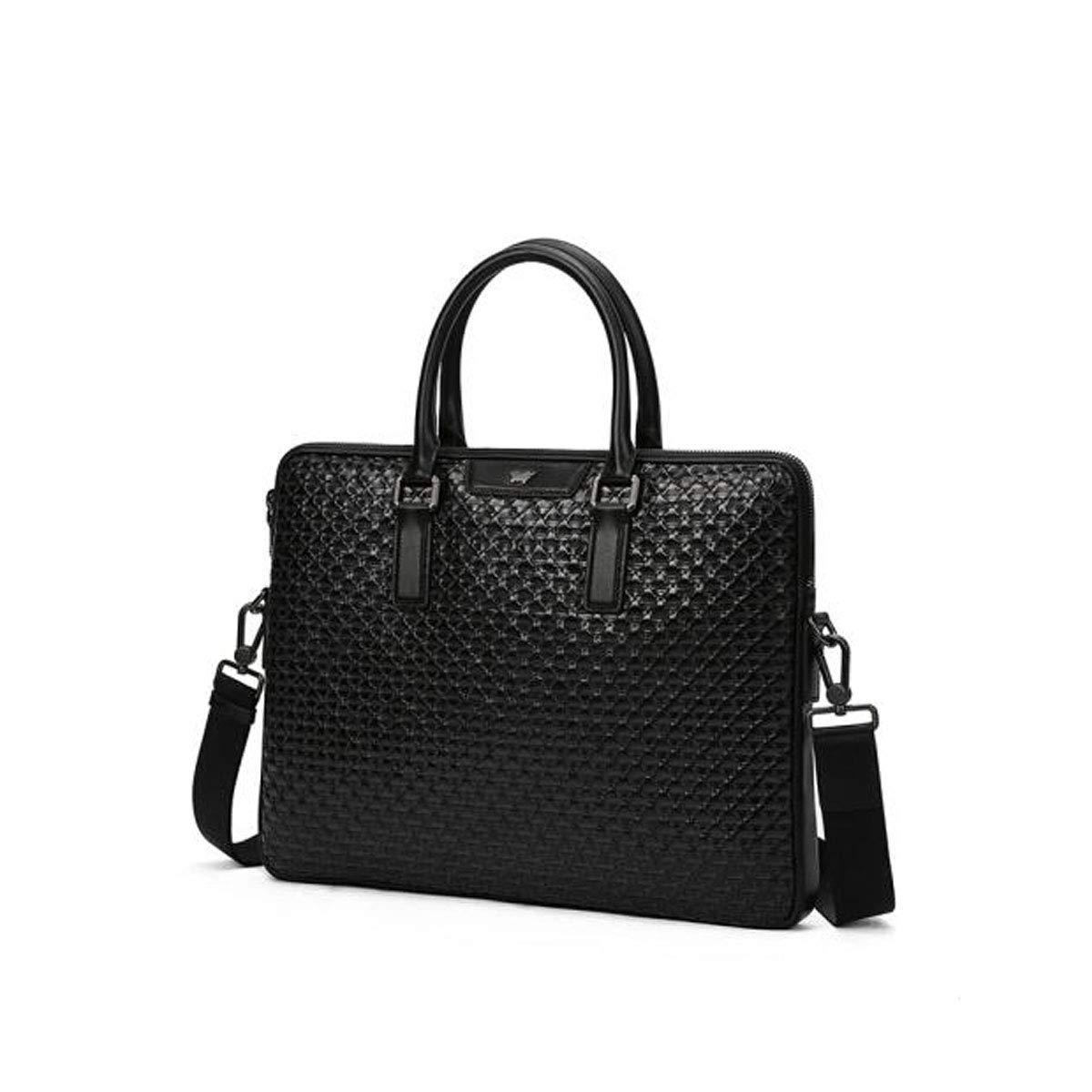 Hengxiang メッセンジャーバッグ、ラップトップブリーフケース、メンズファッション織りパターン、レザーポータブルビジネスコンピュータバッグ、グリーンサイズ:39.54.830cm ビジネスオフィスメッセンジャーバッグ(カラー:ブラック) B07P7G7RCX