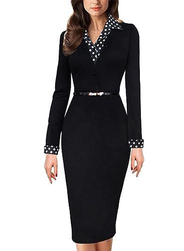 Women's Vintage Polka Dot Black Belt Collared Business Party Pencil Dress
