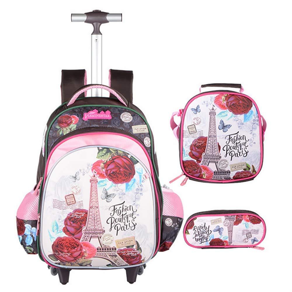HCC& 3PCS Junge Mädchen Schule Schultaschen, Die Rucksack Rollen Mit Lunchpaket Mäppchen,A A