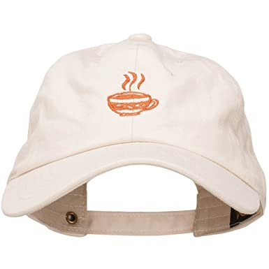 ec71ada5e5822 E4hats Coffee Cup Embroidered Unstructured Washed Cap - Beige OSFM ...