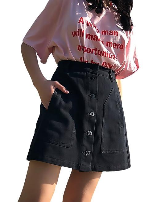 Adelina Falda Vaquera Mujer Verano Vintage Elegantes Un Solo Pecho Una Línea Cintura Alta Faldas Cortas Casual Fashion Ropa Retro: Amazon.es: Ropa y ...