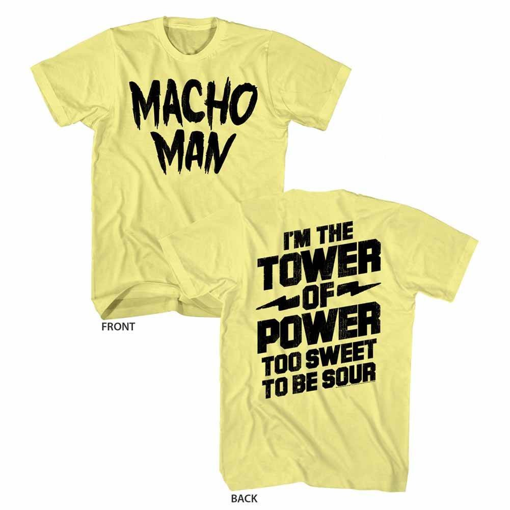 Macho Man 1980's WWF Heavyweight Wrestler Tower 2-Sided Adult T-Shirt Tee