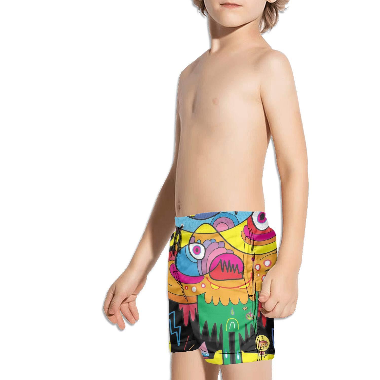 Boys Kids Colorful Art Cartoon Fun Wallpaper Quick Dry Beach Swim Trunk Funny Swimsuit Beach Shorts with Drawstring