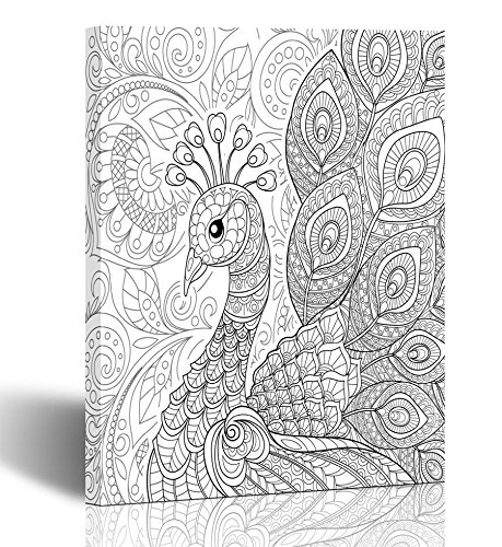 (Emvency Painting Wall Art Canvas Print Square 12x16 Inches Peacock in Zentangle Adult Antistress Coloring Page Black and White Doodle Decoration Wooden)