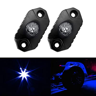 4WDKING Blue LED Rock Lights, 2 Pods IP68 Waterproof Underbody Glow Trail Rig Lamp LED Neon Lights for Truck Jeep Off Road Truck Car Boat ATV SUV Motorcycle: Automotive