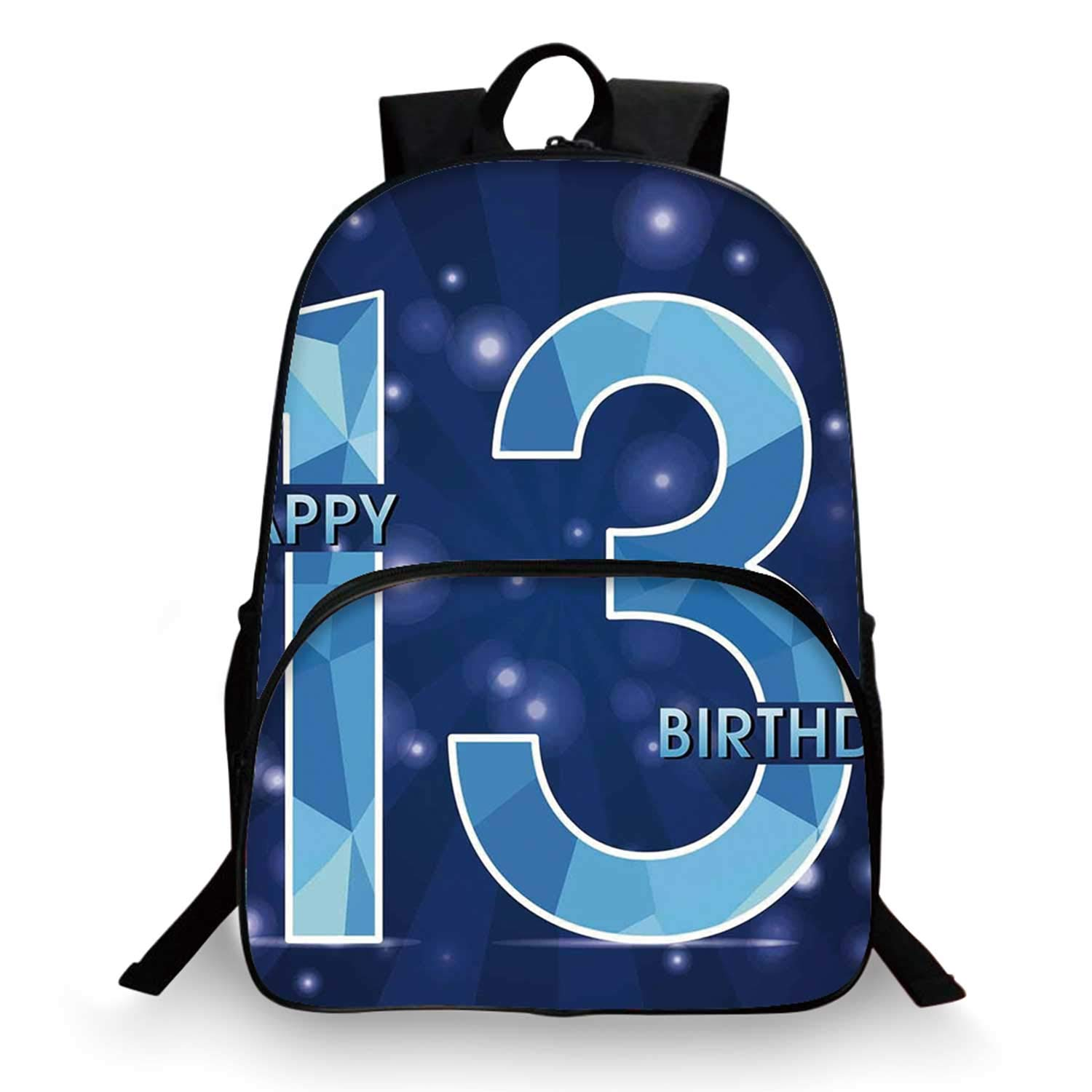 13th Birthday Decorations Various Schoolbag,Thirteen Polygon Emblem on Dark Blue Backdrop and Stars for student,11''Lx6''Wx15''H by C COABALLA