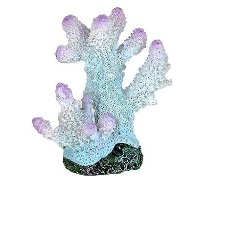 JUZIPI Decoración para Acuario con Acuario, Diseño de pecera de Coral, Color Blanco y