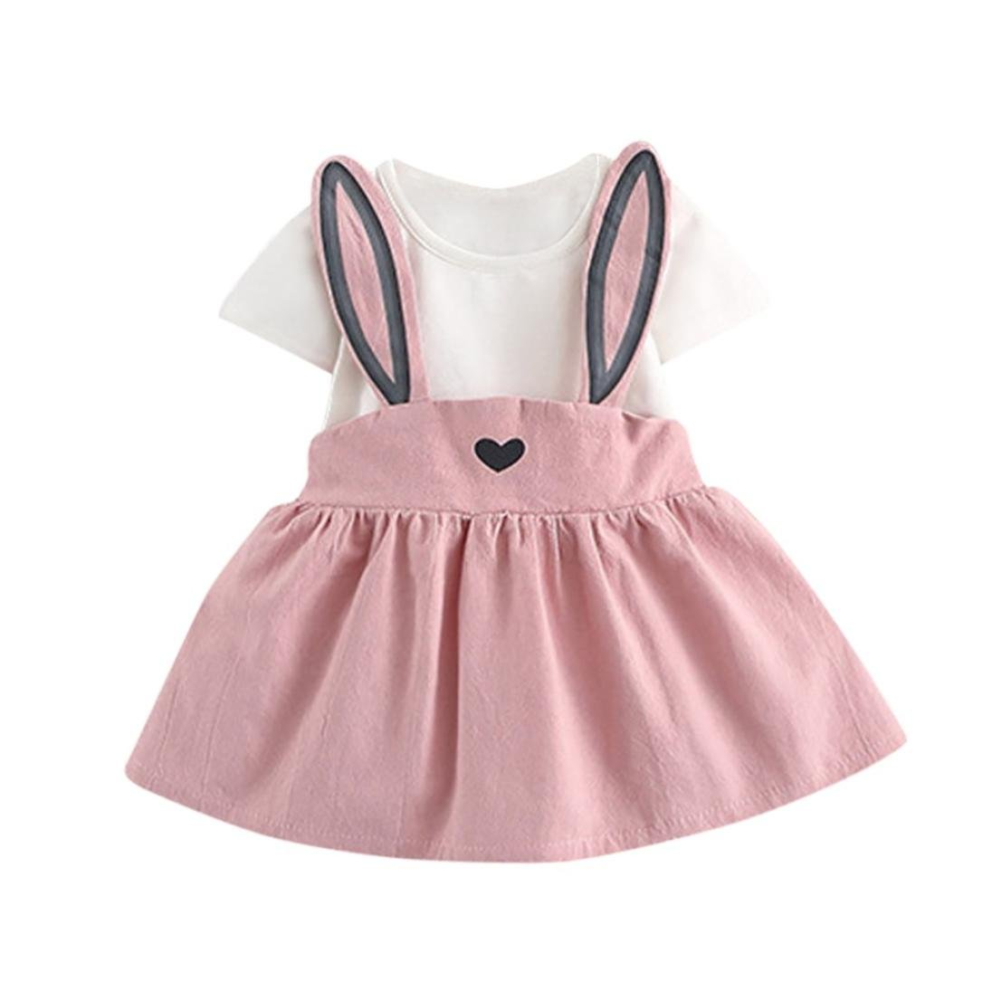 ac851765a4 Amazon.com  Hot Sale! Newborn Toddler Baby Girls Summer Casual Cute Rabbit  Ear Heart Strap Dress Clothes 0-24 Months  Clothing