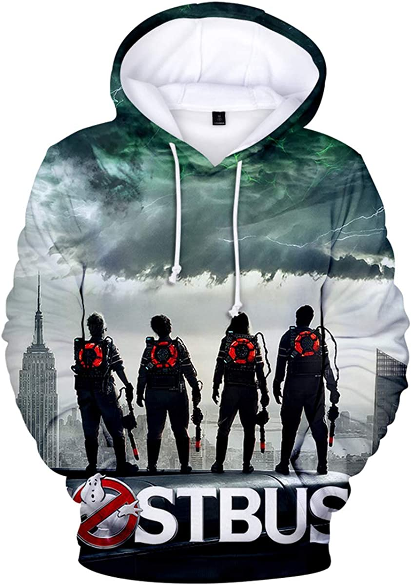 Fashion-zone Ghostbusters Pullover Hoodies Lightweight Hooded Sweatshirt Casual Tops with Pocket for Boys