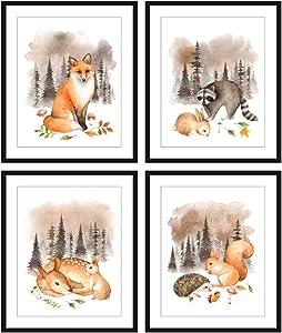 Bestbuddy Pet Set of 4 (8X10) Unframed Watercolor Woodland Animals Fox Raccoon Deer Bunny Squirrel Hedgehog Nursery Art Prints Kids Baby Room Wall Decor BBPAP006