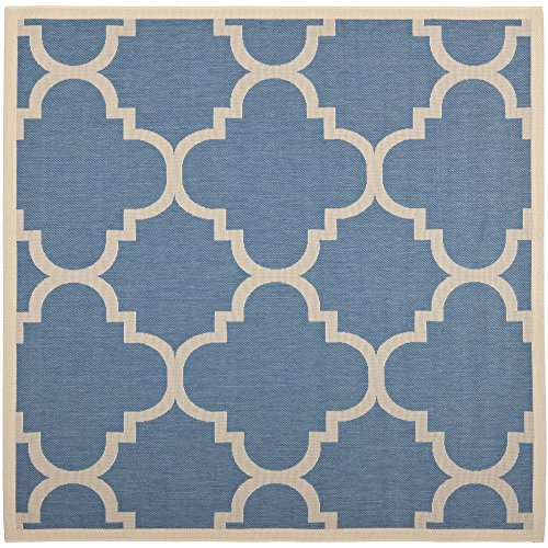 Safavieh Courtyard Collection CY6243-243 Blue and Beige Indoor/ Outdoor Square Area Rug (4' ()