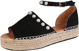 Vovotrade Espadrillas Donna Zeppa Scarpe Moda Slip-on Flessibile Donna Corda Intrecciato Paillette Tacco Zeppa Piattaforma