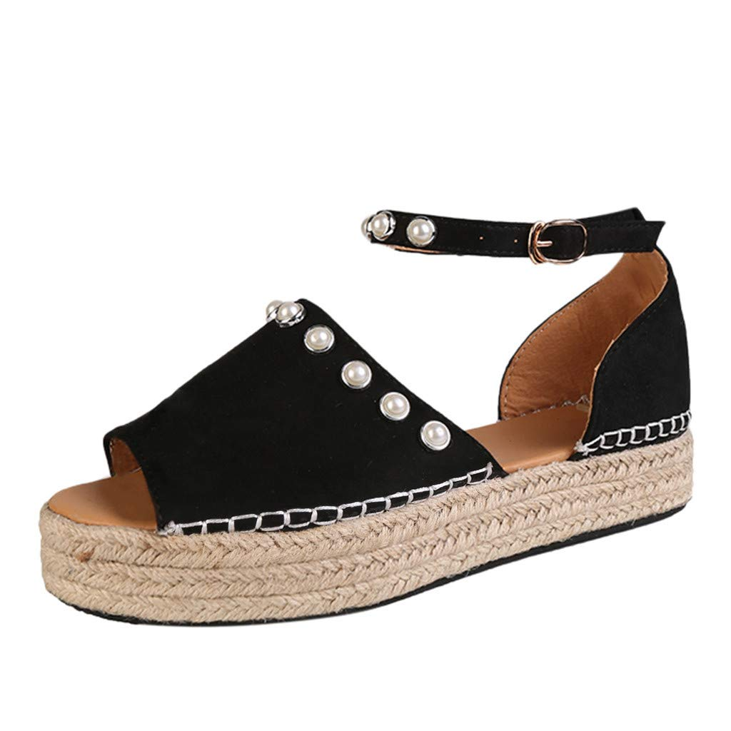 SSYongxia❤ Women's Open Toe Ankle Strap Espadrille Sandal Buckle Faux Leather Studded Wedge Summer Sandals Black