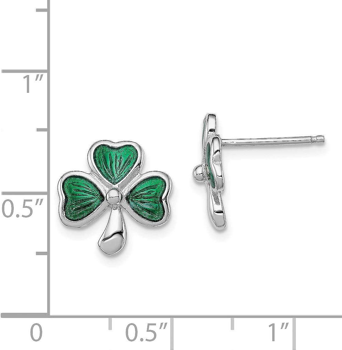 Madi K Sterling Silver Green Enameled Shamrock Post Earrings and a pair of 4mm CZ Stud Earrings