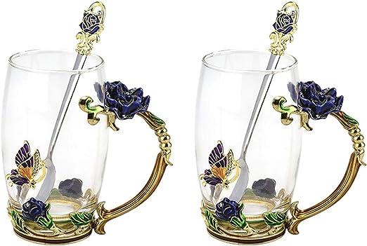 cristal 11oz-1pack azul Tazas de t/é con flores