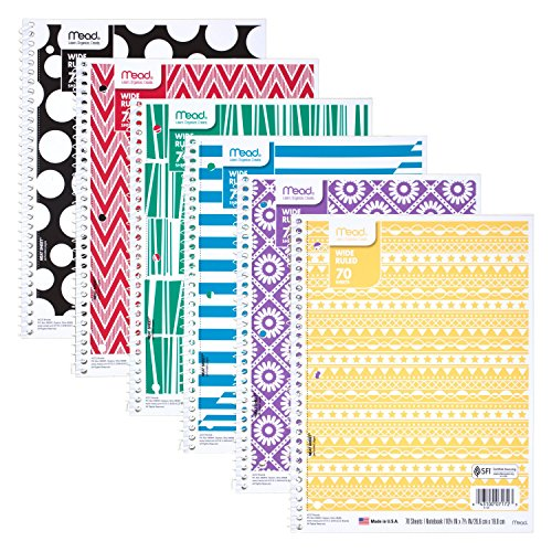 Mead Spiral Notebook, 1 Subject, Wide Ruled Paper, 70 Sheets, Design Will Vary (07172)