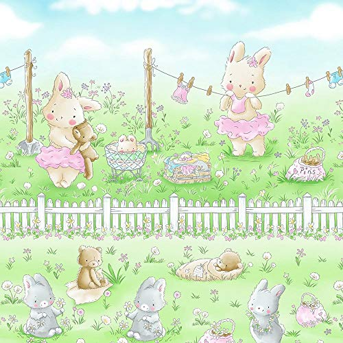 Timeless Treasures Fabrics Bunnies by The Bay Friendship Blossoms Bunny Laundry on The Line